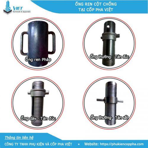 4 loại ống ren cây chống tài Cốp Pha Việt